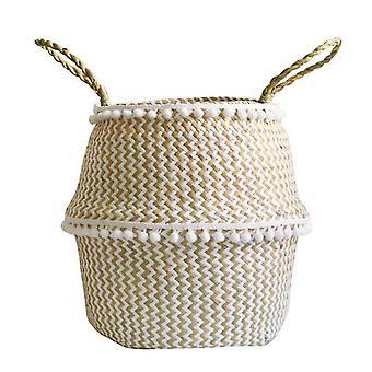 Håndlavet Foldbar Vasketøj Straw Wicker - Rattan Seagrass Belly Garden Flower