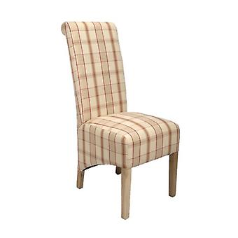Dora Oak And Upholstery Check Designed Chair - Fully Assembled