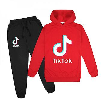 Red Douyin Boys And Girls Hoodie + Pants Sweater Set