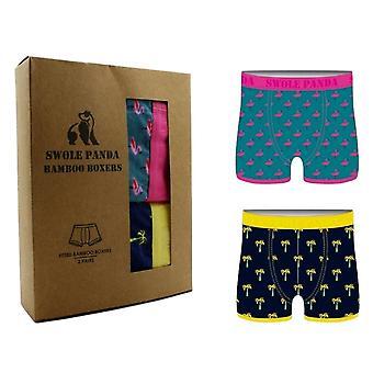 Swole Panda Bamboo Boxers 2 Pack - Flamingo/Palm Tree