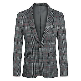 Yunyun Costume décontracté Blazer Veste Classique Manteau à carreaux