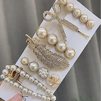 Hair Clip Set, Pearl Hair Clip Korean Ladies Hair Accessories Elegant (pack Of 6)