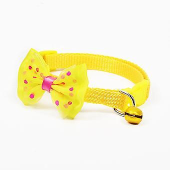 Polyester Hundehalsbänder Haustier Halsbänder mit Bowknot Bells Charm Halskette Halsband für kleine Hunde Katzenhalsbänder