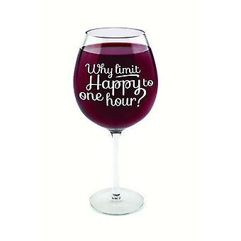 Copa de vino de la broma de 750 ml de cristal de gran hora feliz