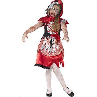 Dziecięce stroje karnawalowe Halloween zombie czerwony jazda konna kaptur strój dla dziewczyny
