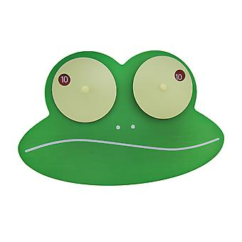 Ziggy the Green Googly Eyed Frog Wooden Wall Clock