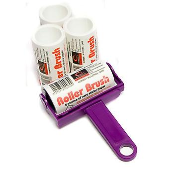 Purple Caraselle Trident Sticky Roller Brush and 3 Refills (20m)