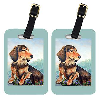 Pair of 2 Dachshund chocolate and tan Long Haired Luggage Tags