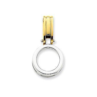 14k sólido bicolor pulido oro cabe 2,5 mm Omega 6mm Reversible Omega Slide - 4,3 gramos