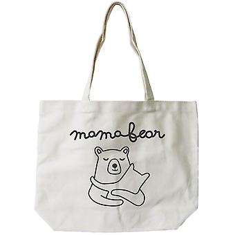 Mamabear Women's 100% Cotton Canvas Tote Bag, Reusable Eco-bag