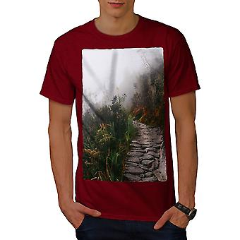 Fog Pathway Photo Men RedT-shirt | Wellcoda