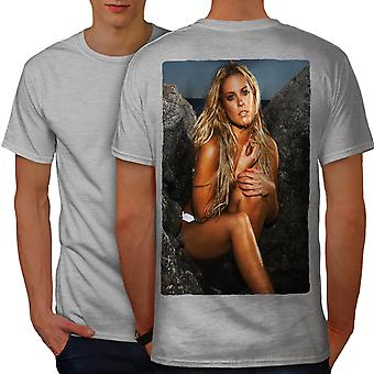 Naked Hot Girl Photo Men GreyT-shirt Back | Wellcoda