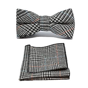 Black & White Dogtooth Check Tweed Bow Tie & Set Square Pocket