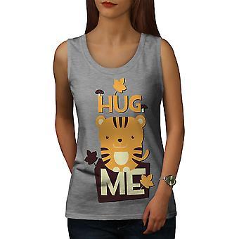 Hug Me Adorable Animal Women GreyTank Top | Wellcoda