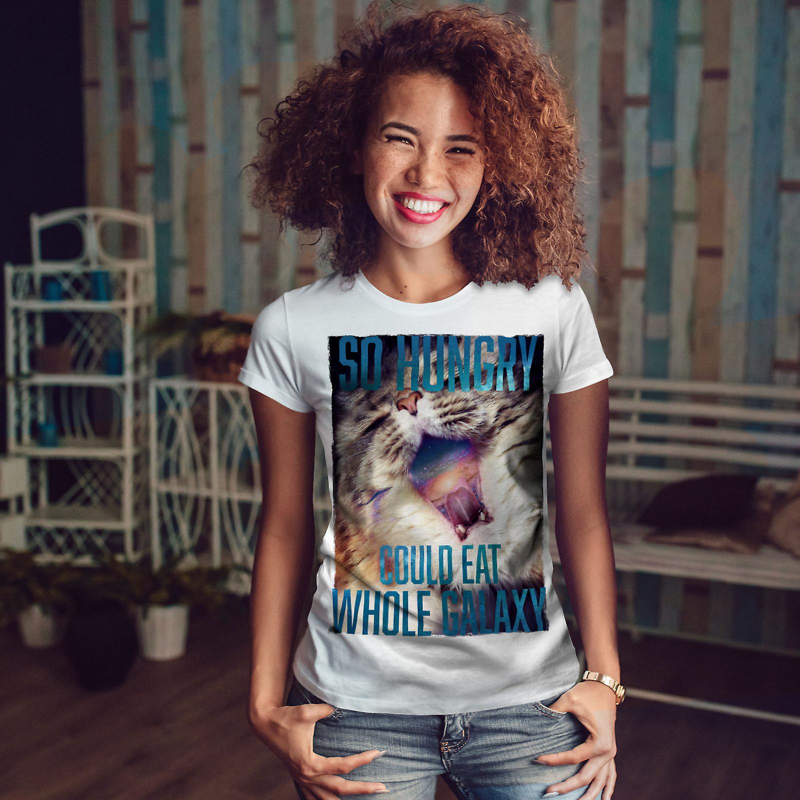 WhiteT-shirt de Galaxy faim chat drôle femme | Wellcoda
