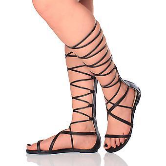Ajvani womens flat strappy lace up tie up leg wrap around gladiator knee high sandals
