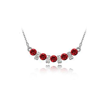 Womens Kristall Rot Stein Anhänger Halskette