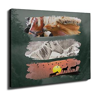 Beast Wild Horses Wall Art Canvas 40cm x 30cm | Wellcoda