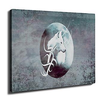 Lone Wolf Moon kunst vegg kunst lerret 40 cm x 30 cm | Wellcoda