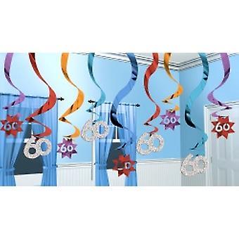 60 opknoping Swirl decoratie feest blijft 15 snaren (aantal 1)