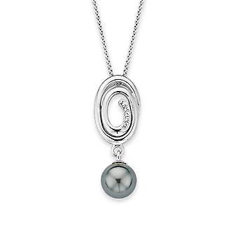 Catena di Orphelia argento 925 con pendente a spirale con grigio perla zirconio ZH-7116