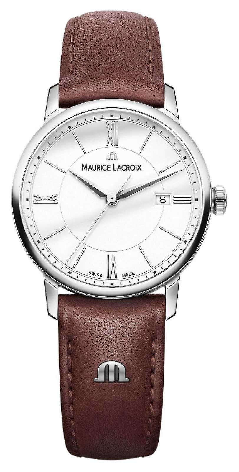 Maurice Lacroix Womens Eliros Brown Leather Strap Silver DialLadies EL1094-SS001-110-1 Watch