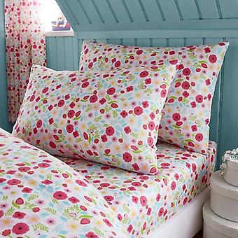 Bertie And Friends Floral Single Fitted Sheet And Pillowcase Set