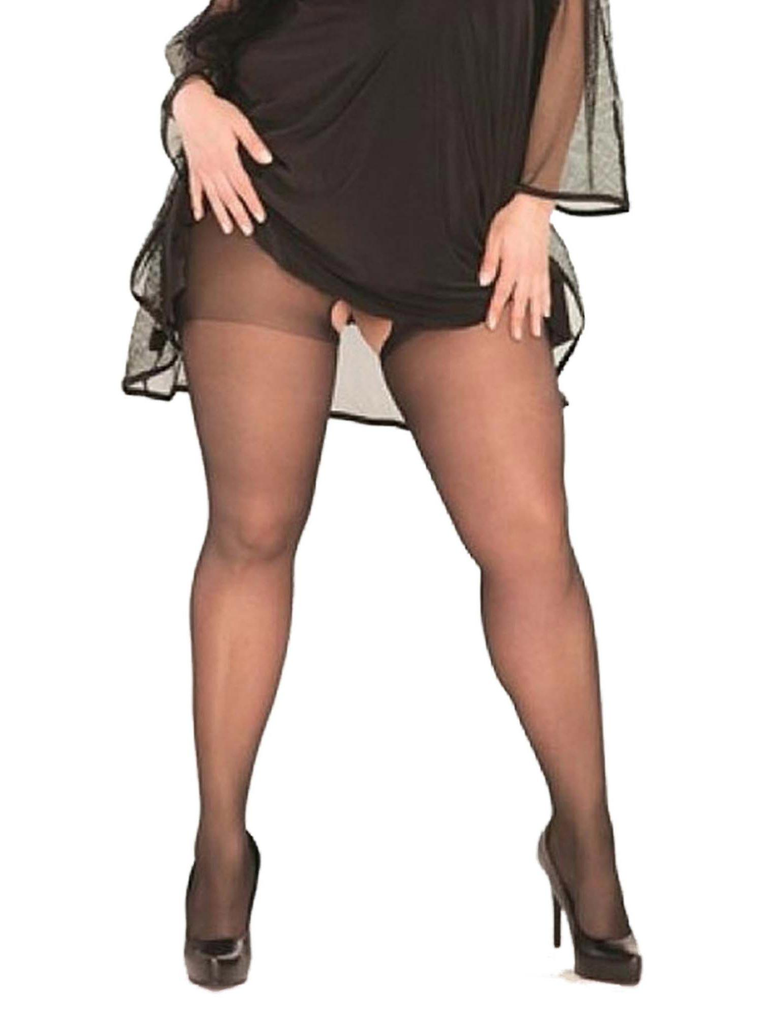 502aca83c1f Womens Sexy Plus Size Black Sheer Crotchless Pantyhose Hosiery Stockings  Tights