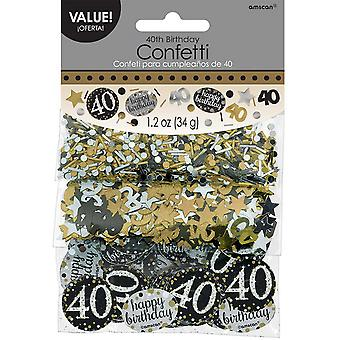Amscan 1.2oz Gold Sparkling 40th Birthday Confetti