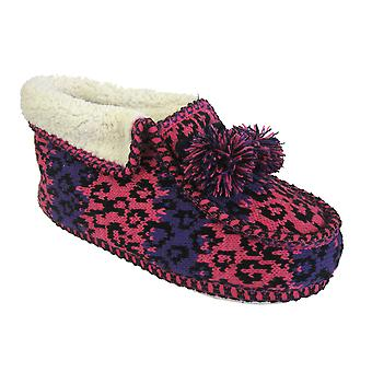 Coolers Womens Premier Fairisle Knitted Bootie Slippers
