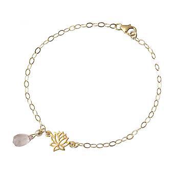 Damen - Armband - 925 Silber - Vergoldet - Lotus Blume - Rosenquarz - Tropfen - Rosa - YOGA