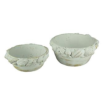 Distressed White Coastal Seashells Indoor/Outdoor Cement Planter Set