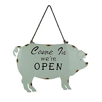 Weathered White Enamelware Farmhouse Pig Open Sign