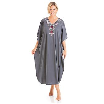 Ladies One Size Kaftans Embroidered Neckline Full Length 812