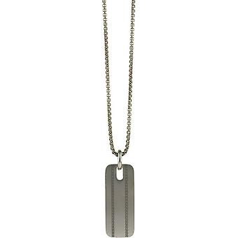 Ti2 Titanium Herringbone Pattern Pendant - Silver