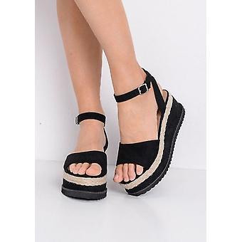Espadrille Wedge Flatform simili-Suède sandales noir