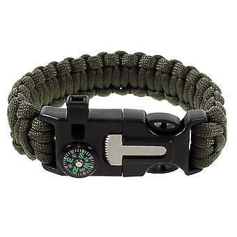 Survival armband, Fire Starter, whistle, kompas, Scraper-leger groen
