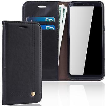 Cell phone cover tilfældet for Samsung Galaxy S8 dække tegnebog sag sort