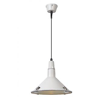 Lucide Tonga Industrial Round Aluminum White Pendant Light