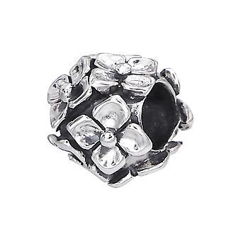 Blume - 925 Sterling Silber Plain Beads - W11100X