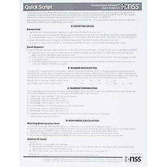 Numéro sens Screener (Nss) Script rapide, K-1, édition de recherche
