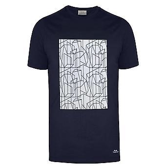 CC Collection Corneliani Navy Geometric Print Logo T-Shirt