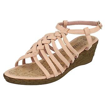 Ladies Spot On Wedge Sandals F10037A