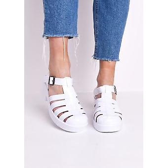 Cleated lohko kallistuneen häkki hyytelö sandaalit valkoinen
