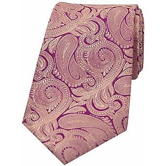David Van Hagen luxe Paisley cravate en soie - violet/Fuchsia
