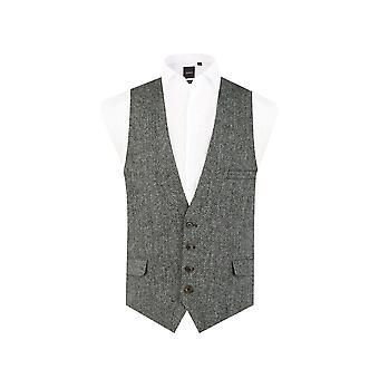 Scottish Harris Tweed Mens Black/Grey Herringbone Waistcoat Regular Fit 100% Wool Low Cut