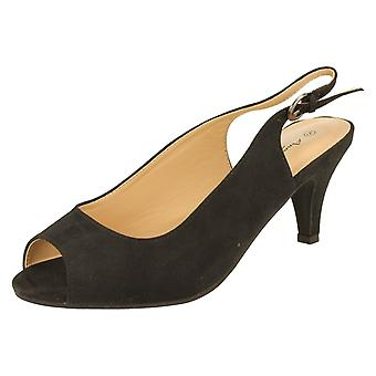 Ladies Anne Michelle Microfibre Wide Fitting Slingback Sandals F10593