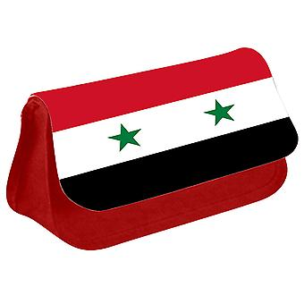 Syria Flag Printed Design Pencil Case for Stationary/Cosmetic - 0171 (Red) by i-Tronixs