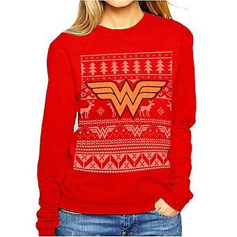 Unisex Red DC Comics Wonder Woman Christmas Jumper