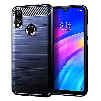 Xiaomi Redmi 7 TPU cas fibre de carbone optique brossé étui de protection bleu